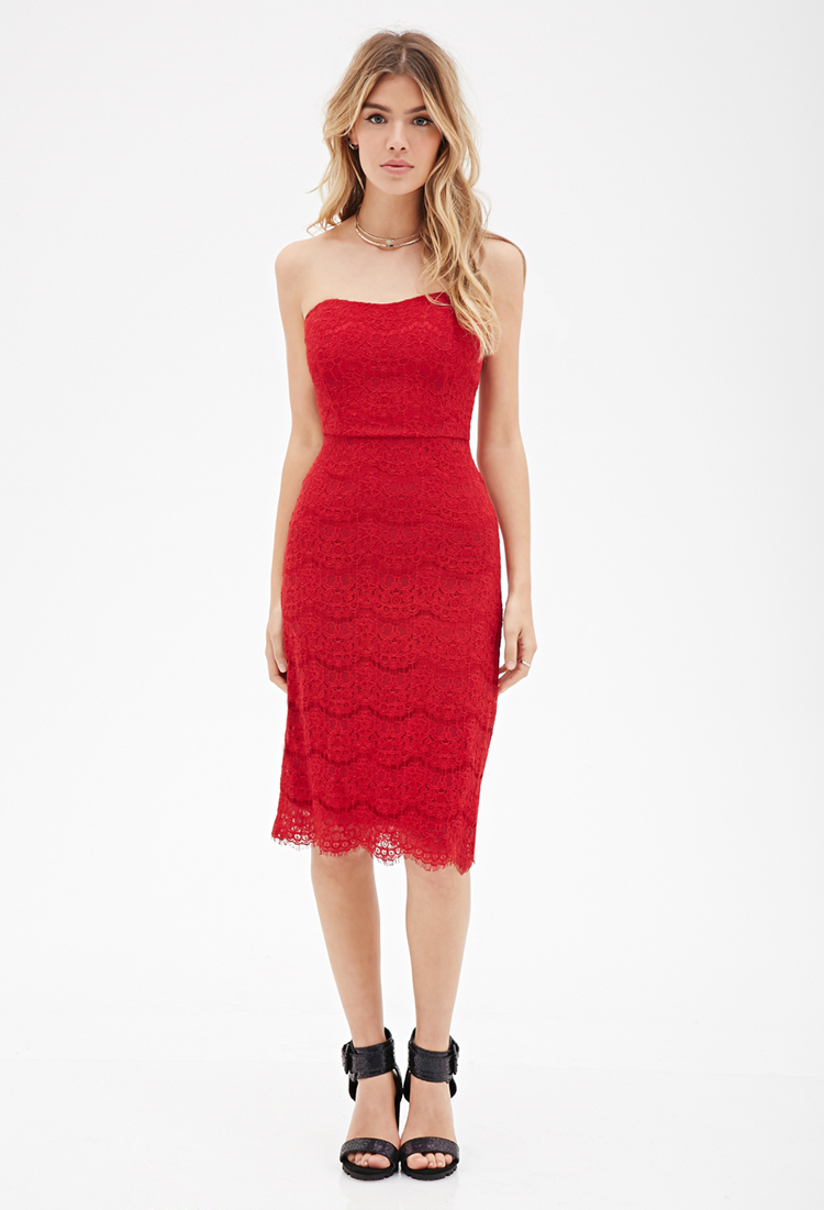 Forever 21 Eyelash Lace Strapless Dress in Red | Lyst