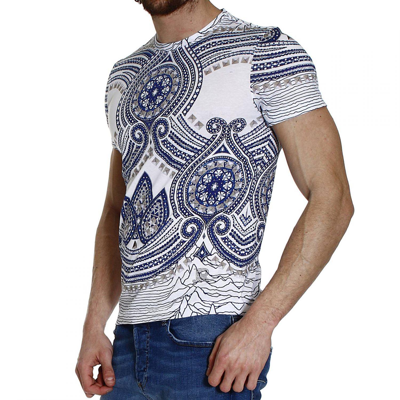 John richmond studs printed half sleeve crew neck t shirt for Richmond t shirt printing