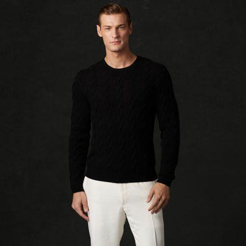 Ralph lauren purple label Cableknit Cashmere Sweater in Black for ...