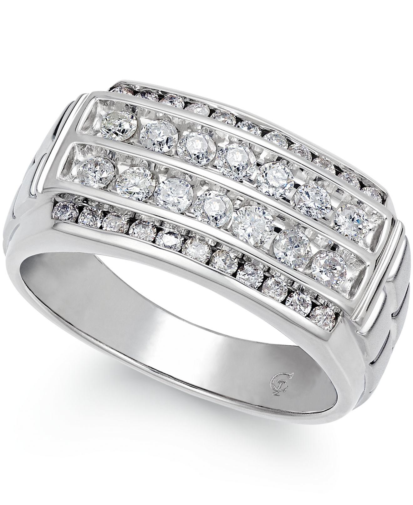 Macys Mens Wedding Rings: Macy's Men's Diamond Ring (1 Ct. T.w.) In 10k White Gold