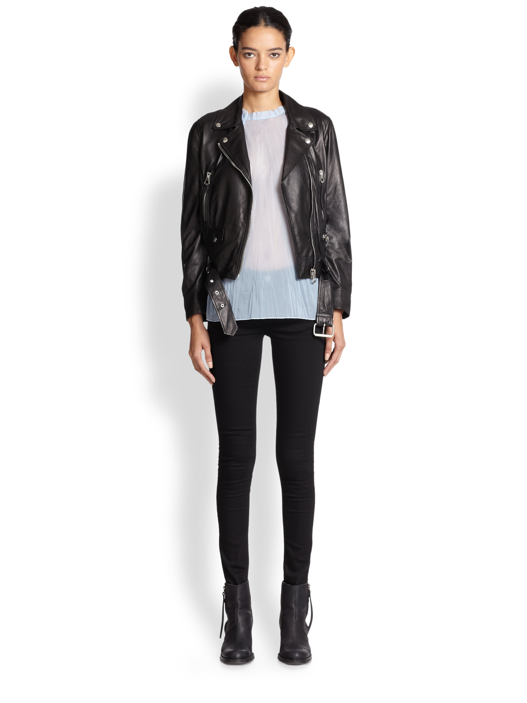 Acne studios Mock Leather Moto Jacket in Black | Lyst