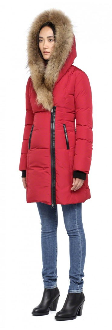 ed34ad410d41 ... low price lyst mackage kay f4 long cherry winter down coat with fur  hood in red