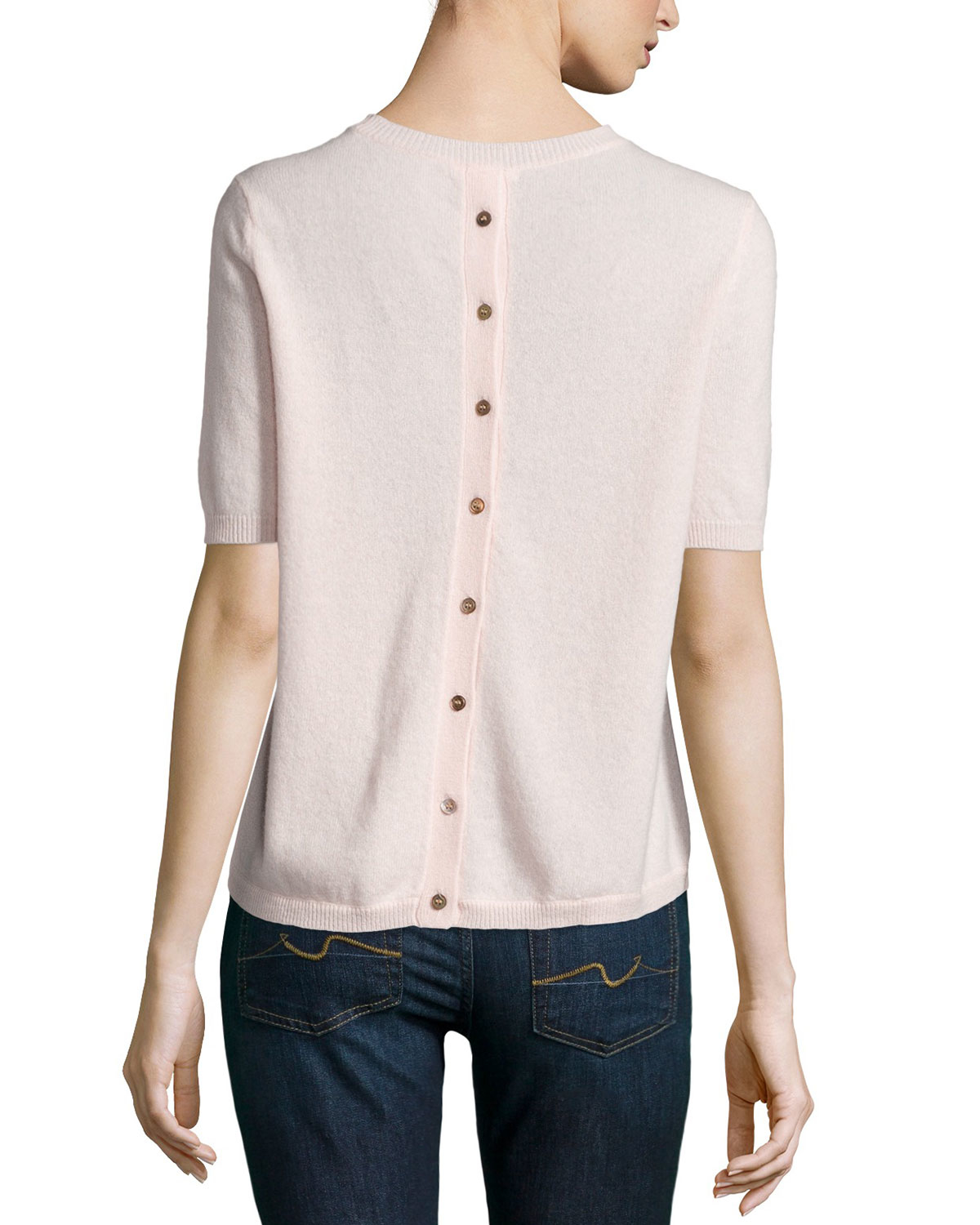 Minnie rose Cashmere Short-sleeve Button-back Cardigan in Pink | Lyst