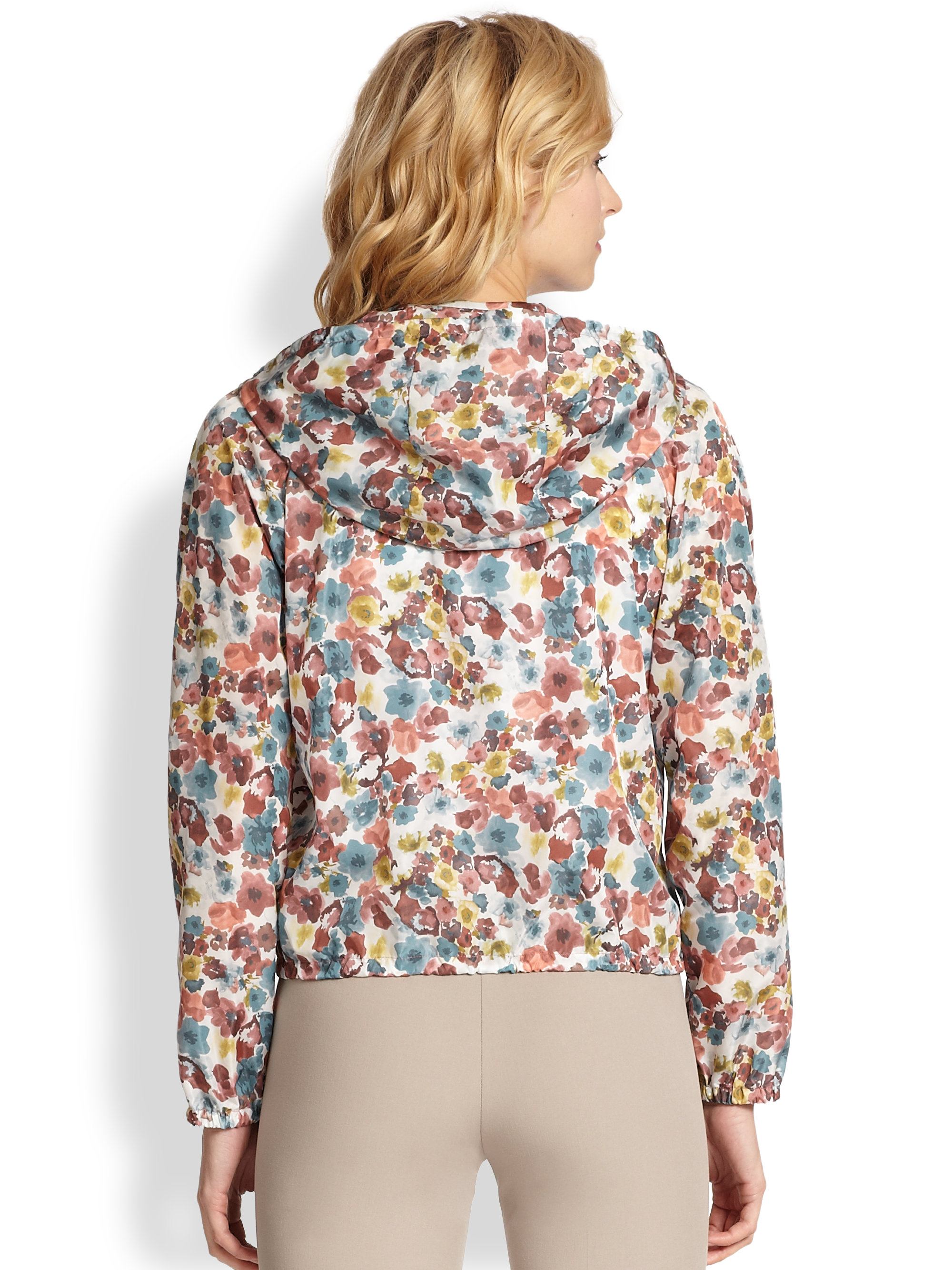 Peserico Floral Short Rain Jacket in Natural | Lyst