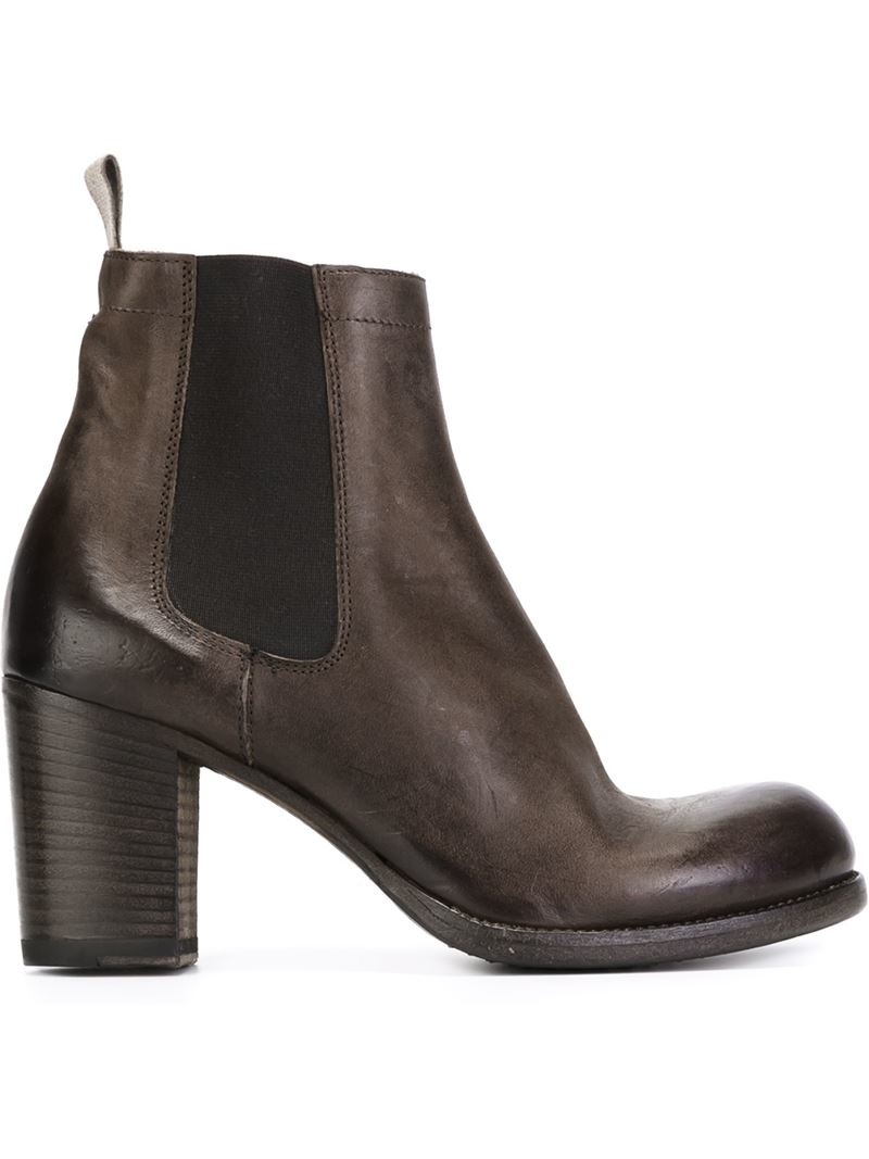 pantanetti chunky heeled chelsea boots in brown lyst