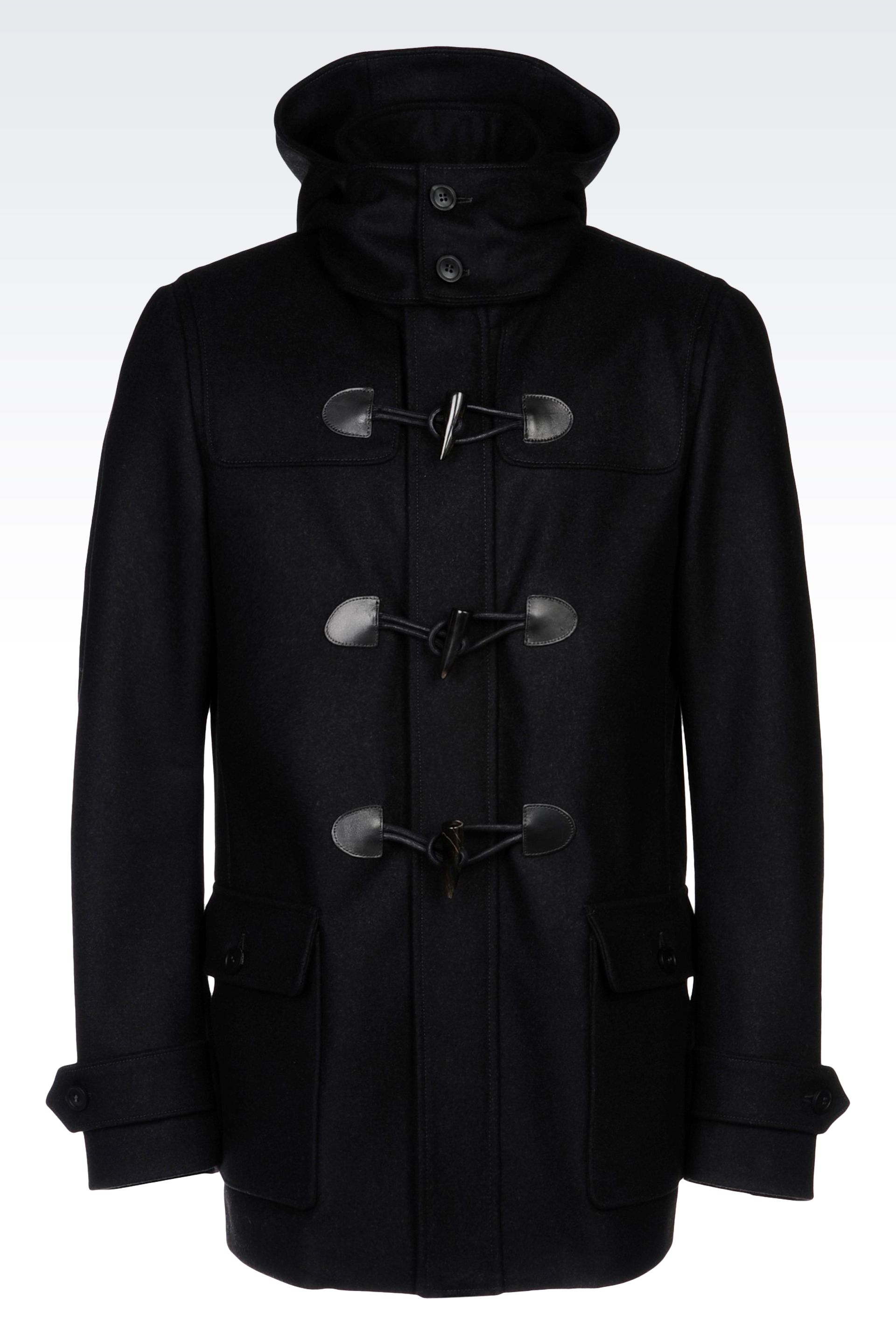 Black Hooded Duffle Coat