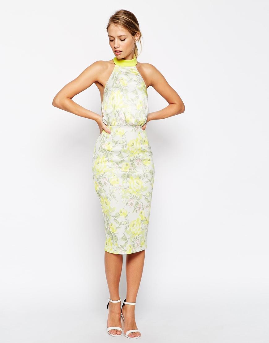Asos floral halter midi dress in green lyst for Halter dress wedding guest