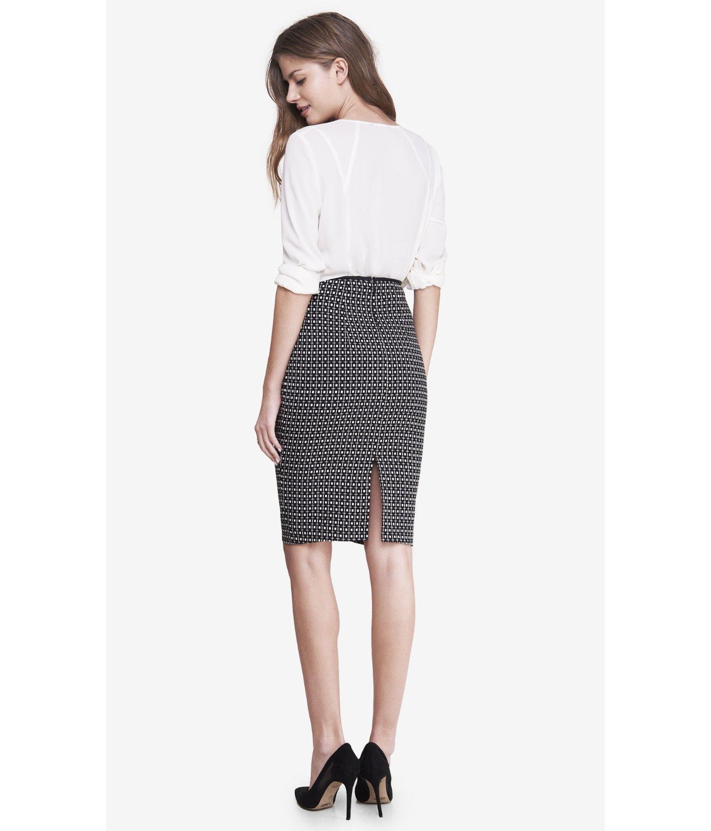 express square jacquard print midi pencil skirt in black