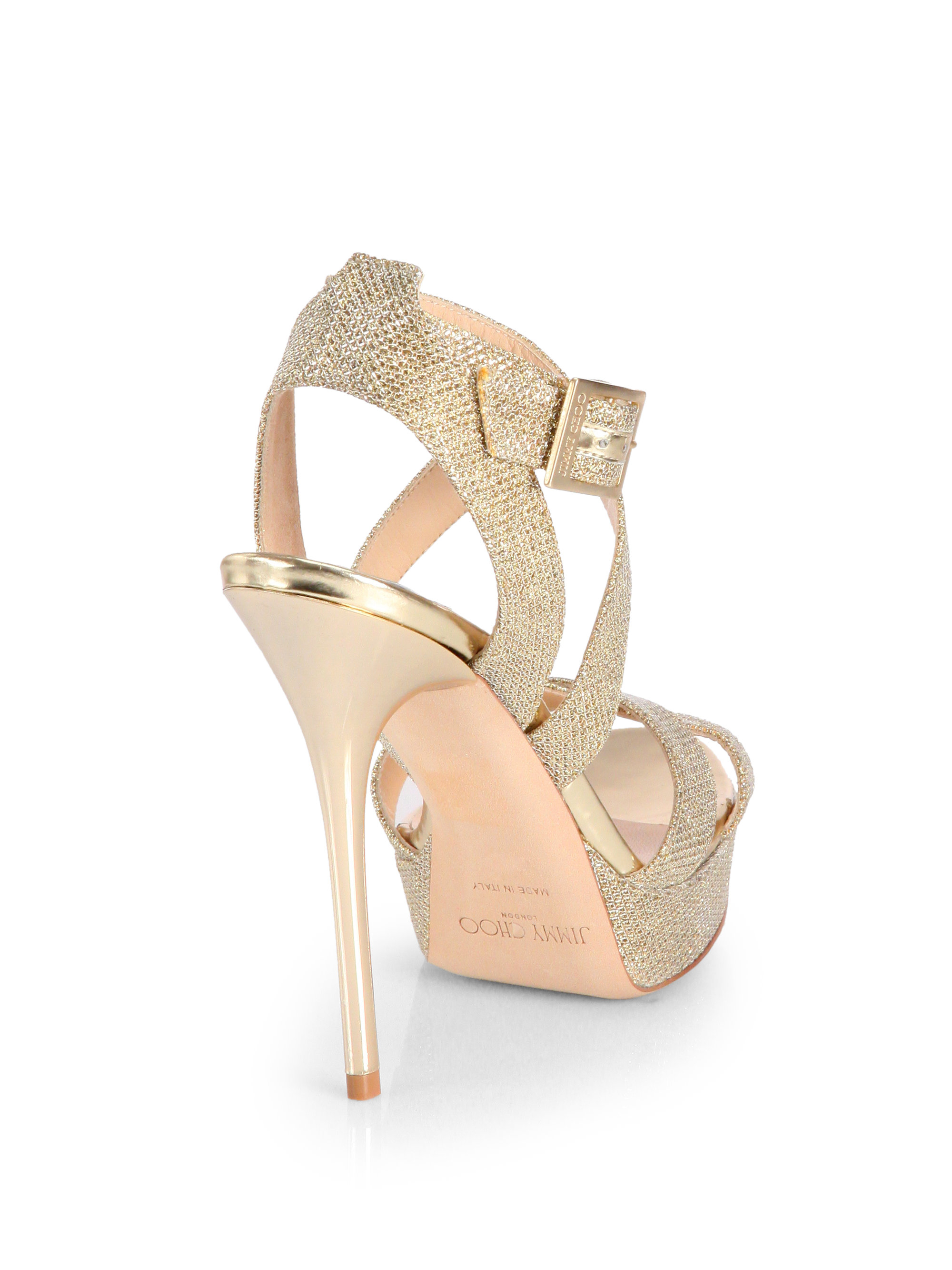 16cc93f924a Lyst - Jimmy Choo Vamp Glitter Lam Eacute  Platform Sandals in Metallic