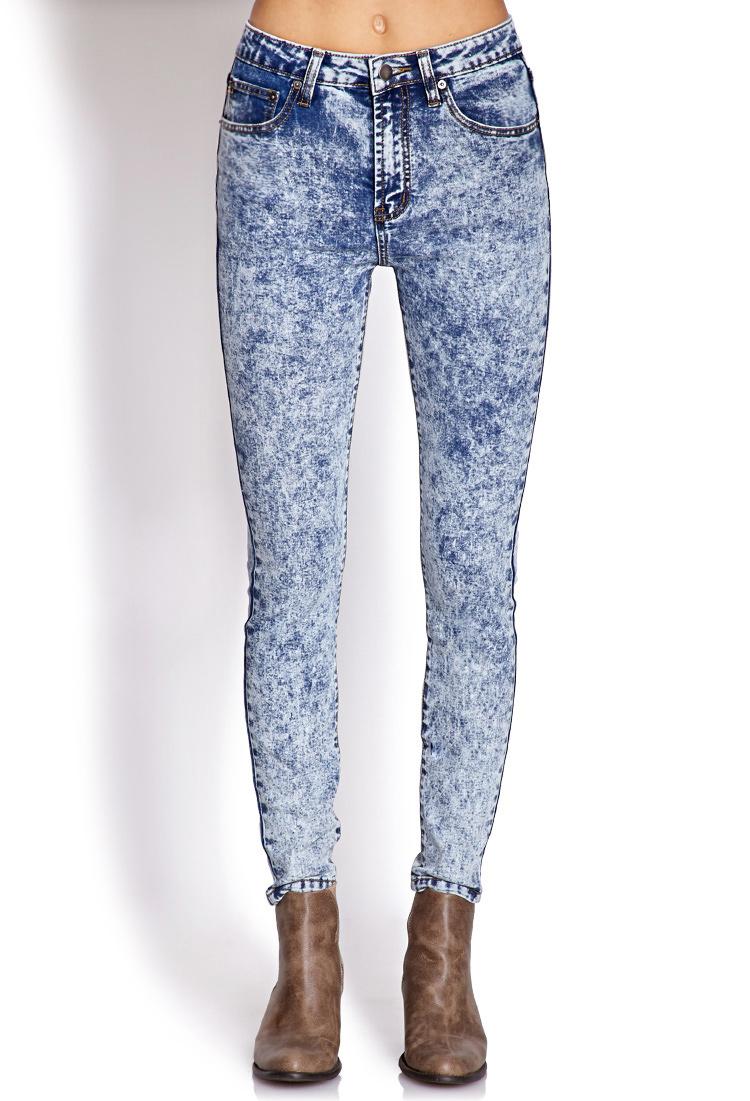 forever 21 highwaisted acid wash jeans in blue indigo