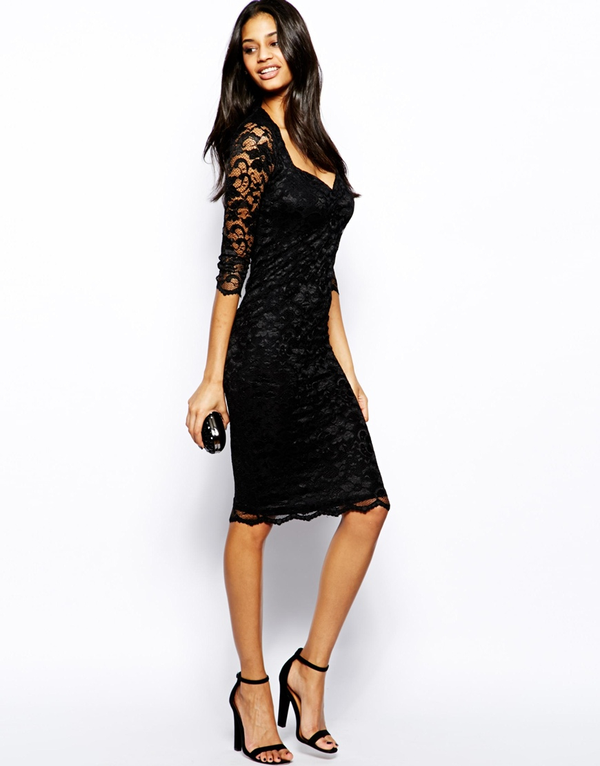 John zack Lace Midi Dress with Sweetheart Neckline in Black | Lyst
