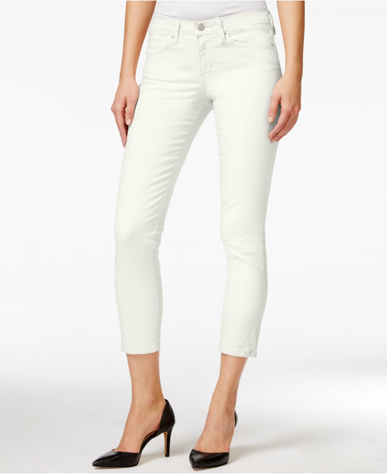 Cropped White Skinny Jeans - Xtellar Jeans