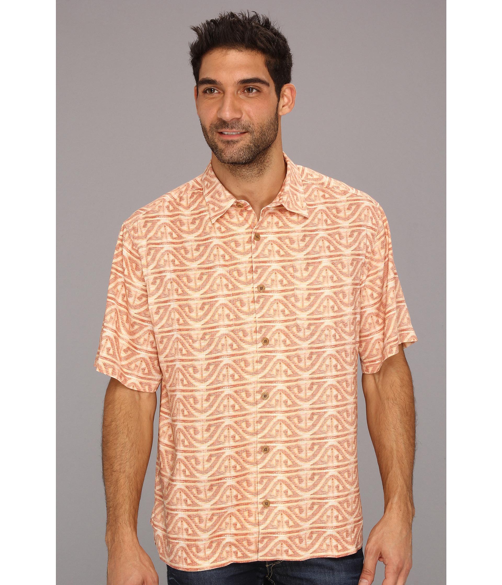 Tommy bahama gibraltar tile camp shirt in orange for men for Tommy bahama christmas shirt 2014