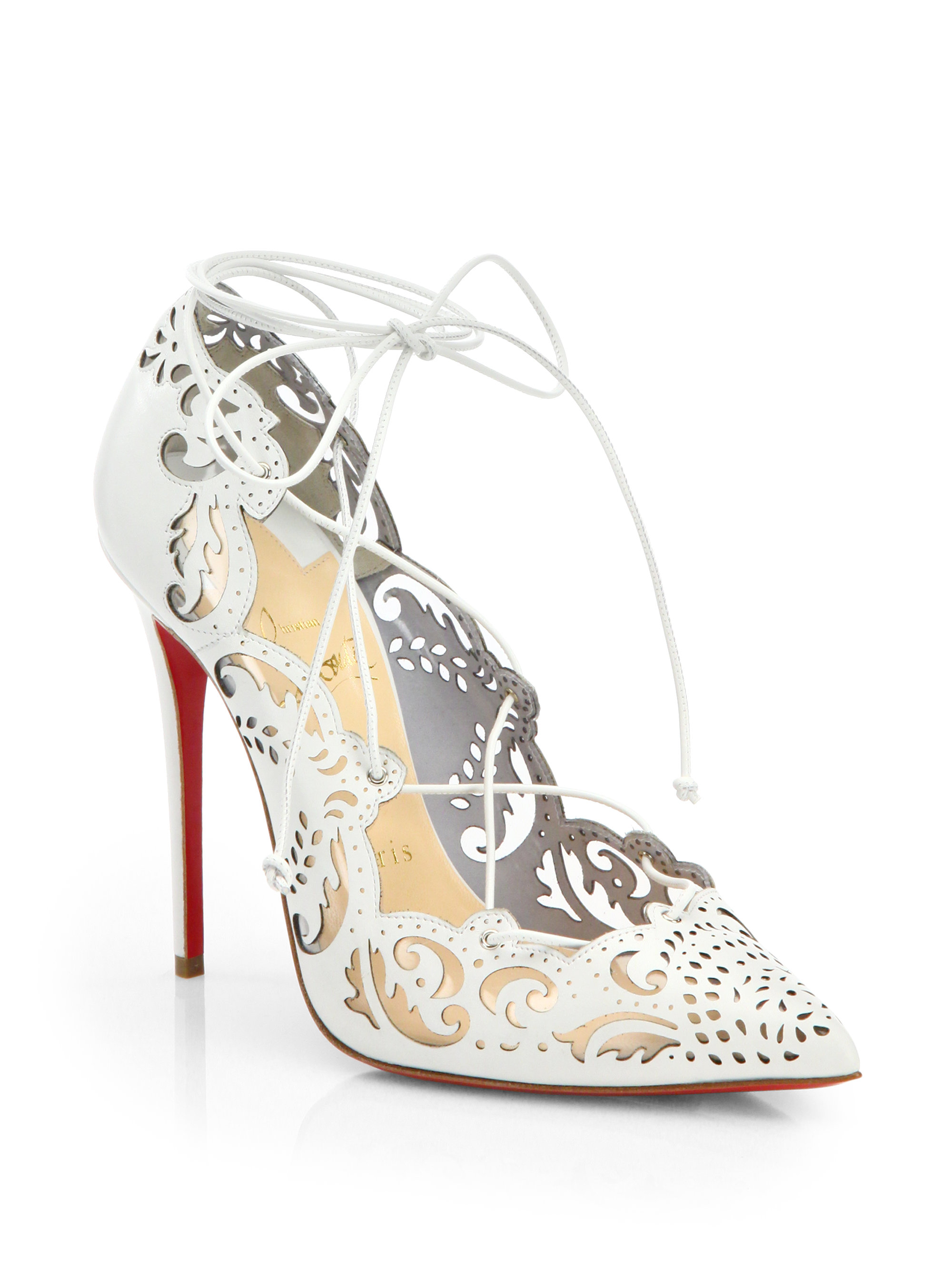 Lyst - Christian Louboutin Impera Lasercut Leather Pumps in White 13465f7ab