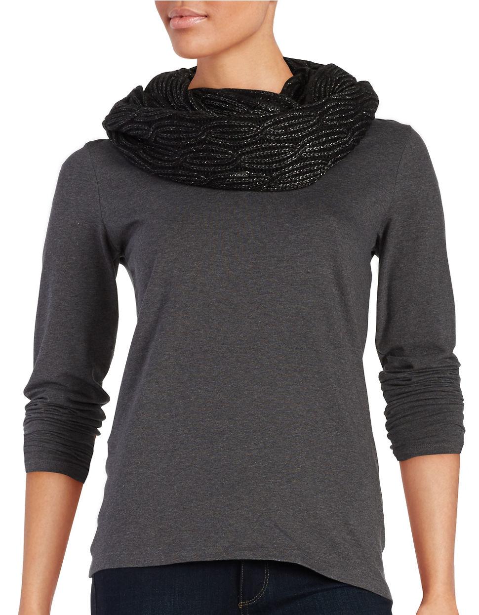 calvin klein metallic knit infiniti scarf in black lyst