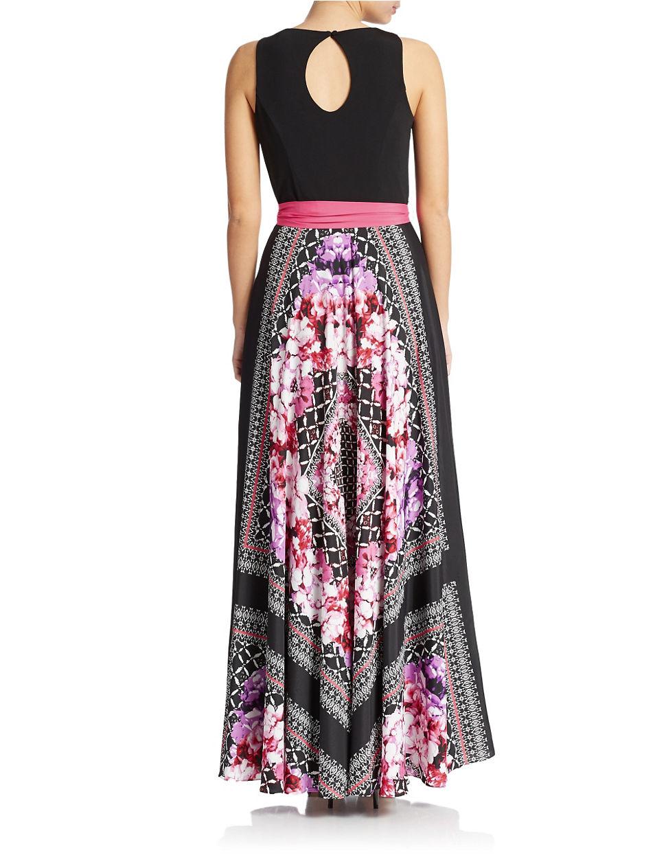 eliza j plus scarf printed skirt maxi dress lyst