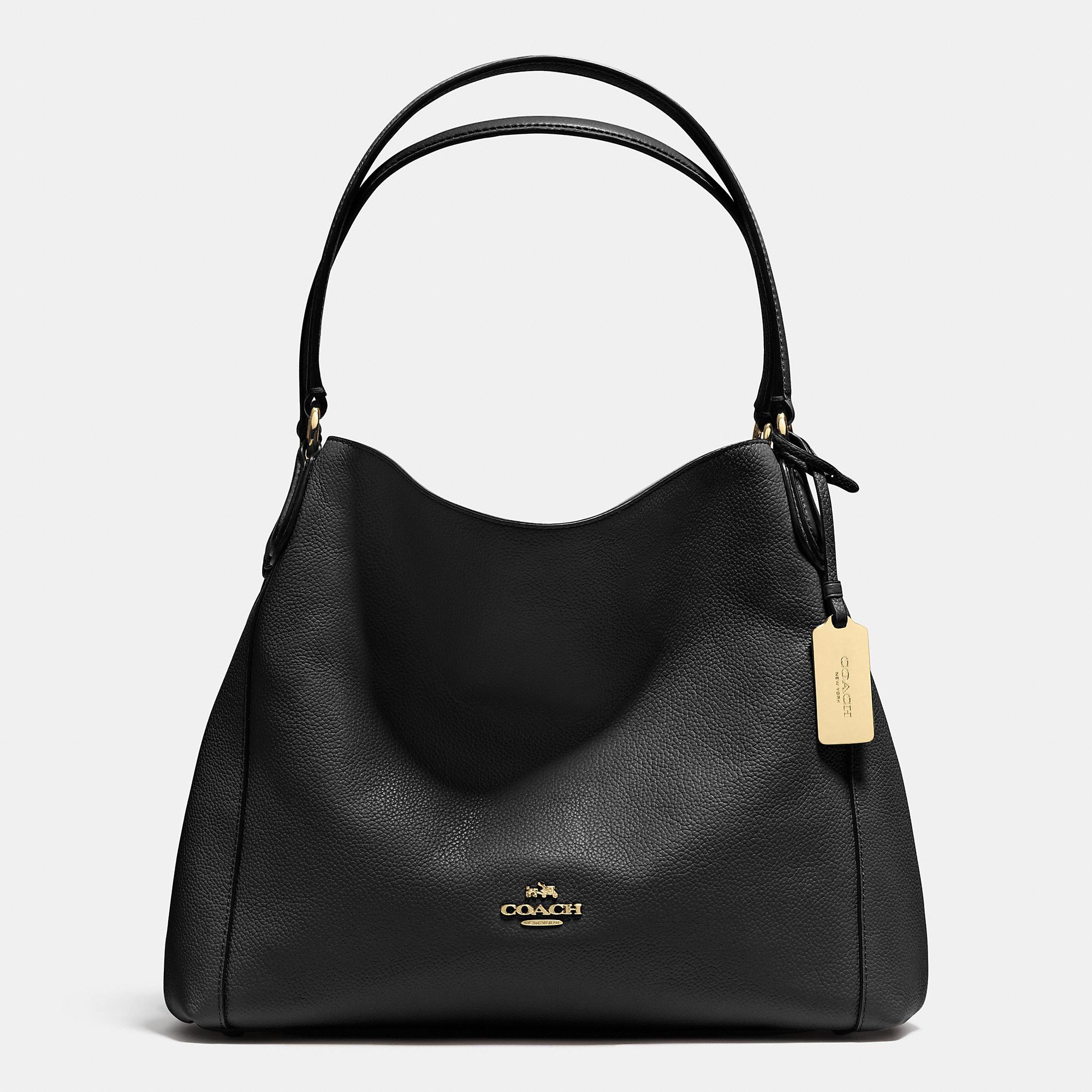 a2da5a8a69 COACH Edie 31 Leather Shoulder Bag in Black - Lyst