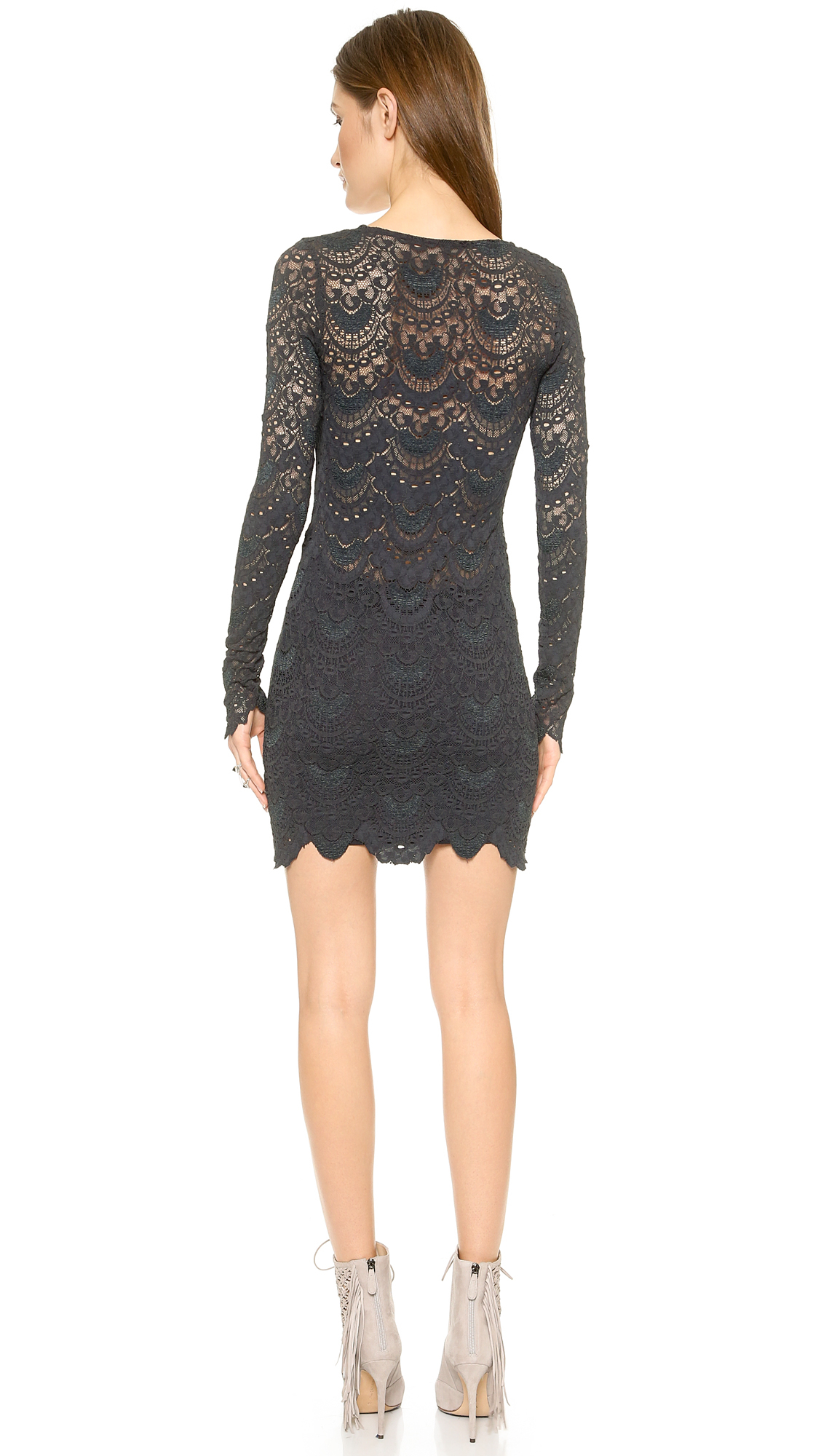 8ad299dfd30d Nightcap Spanish Lace Long Sleeve Deep V Dress - Ivory in Gray - Lyst