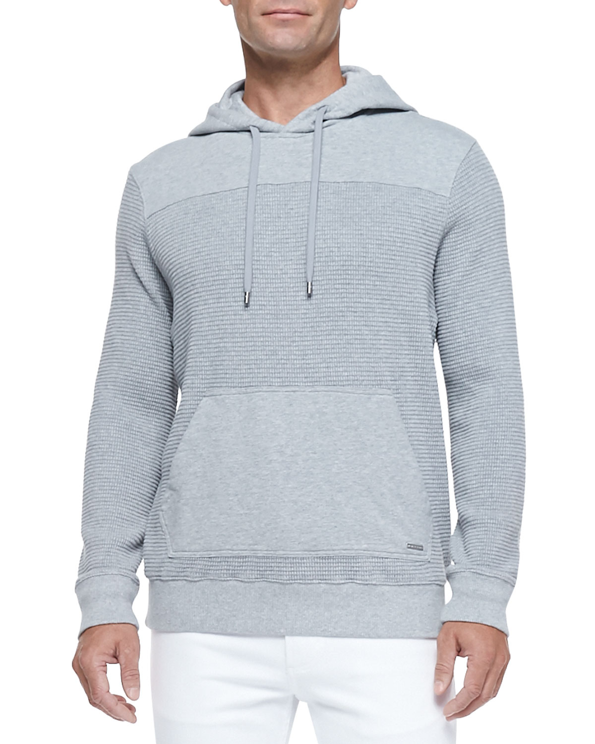 michael kors waffle knit pullover hoodie in gray for men lyst. Black Bedroom Furniture Sets. Home Design Ideas