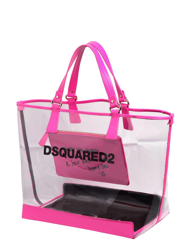 Dsquared² Logo Printed Pvc Beach Tote Bag in Purple   Lyst