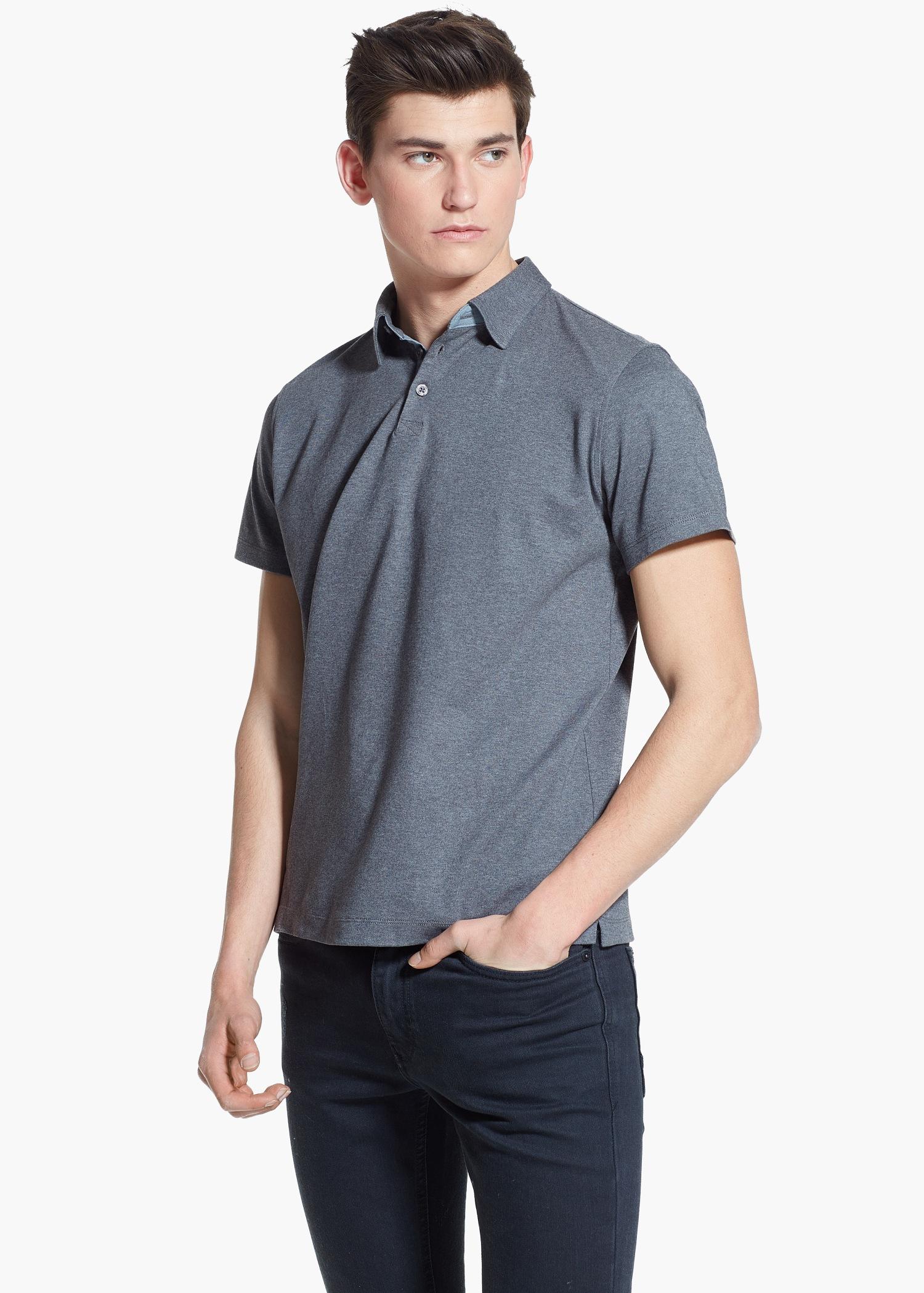 Lyst mango stretch cotton polo shirt in gray for men for Cotton polo shirts for men