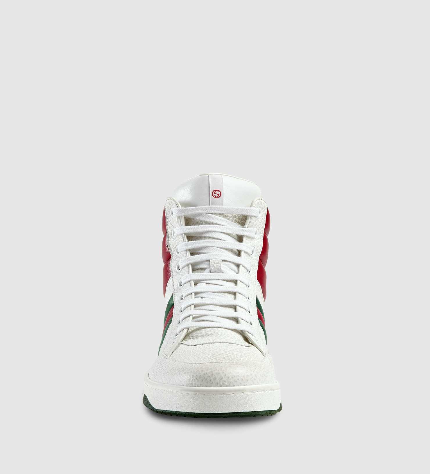 gucci contrast padded leather high top sneakers in white for men lyst. Black Bedroom Furniture Sets. Home Design Ideas