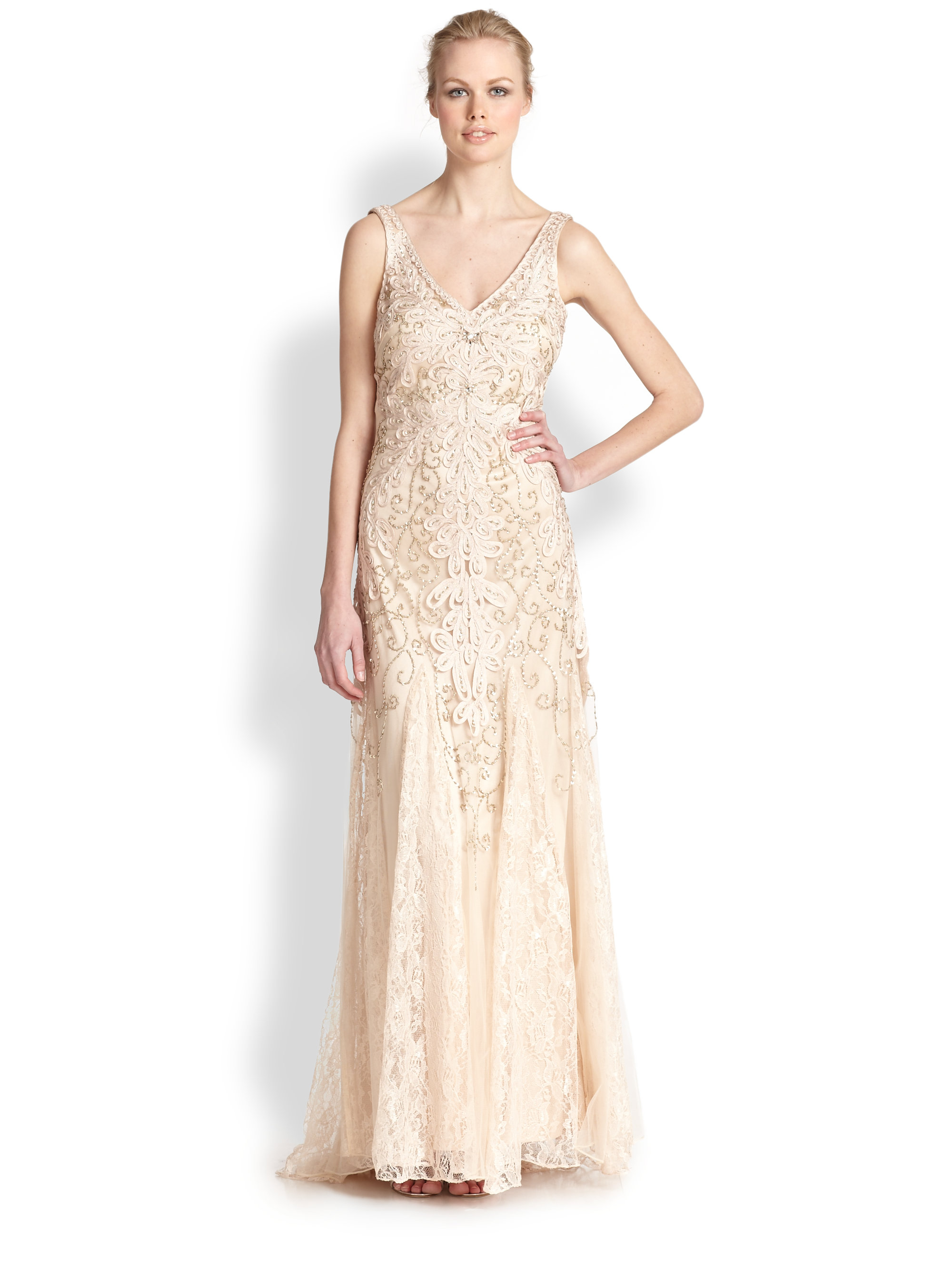 Sue wong Embroidered V-neck Chiffon Gown in Natural | Lyst