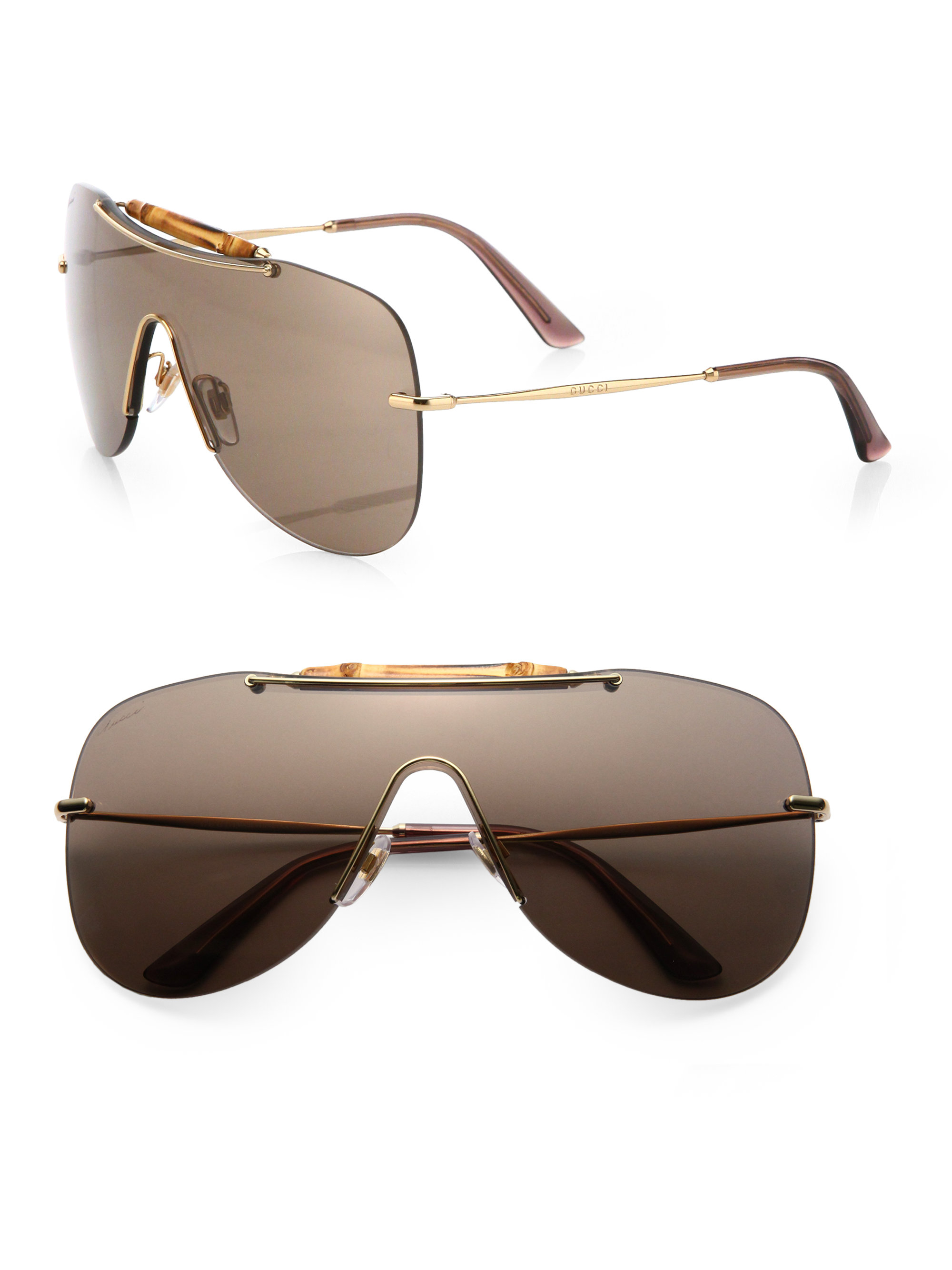d2a5fb37d7 Lyst - Gucci Bamboo Shield Sunglasses in Metallic GUCCI 63Mm Open Temple ...