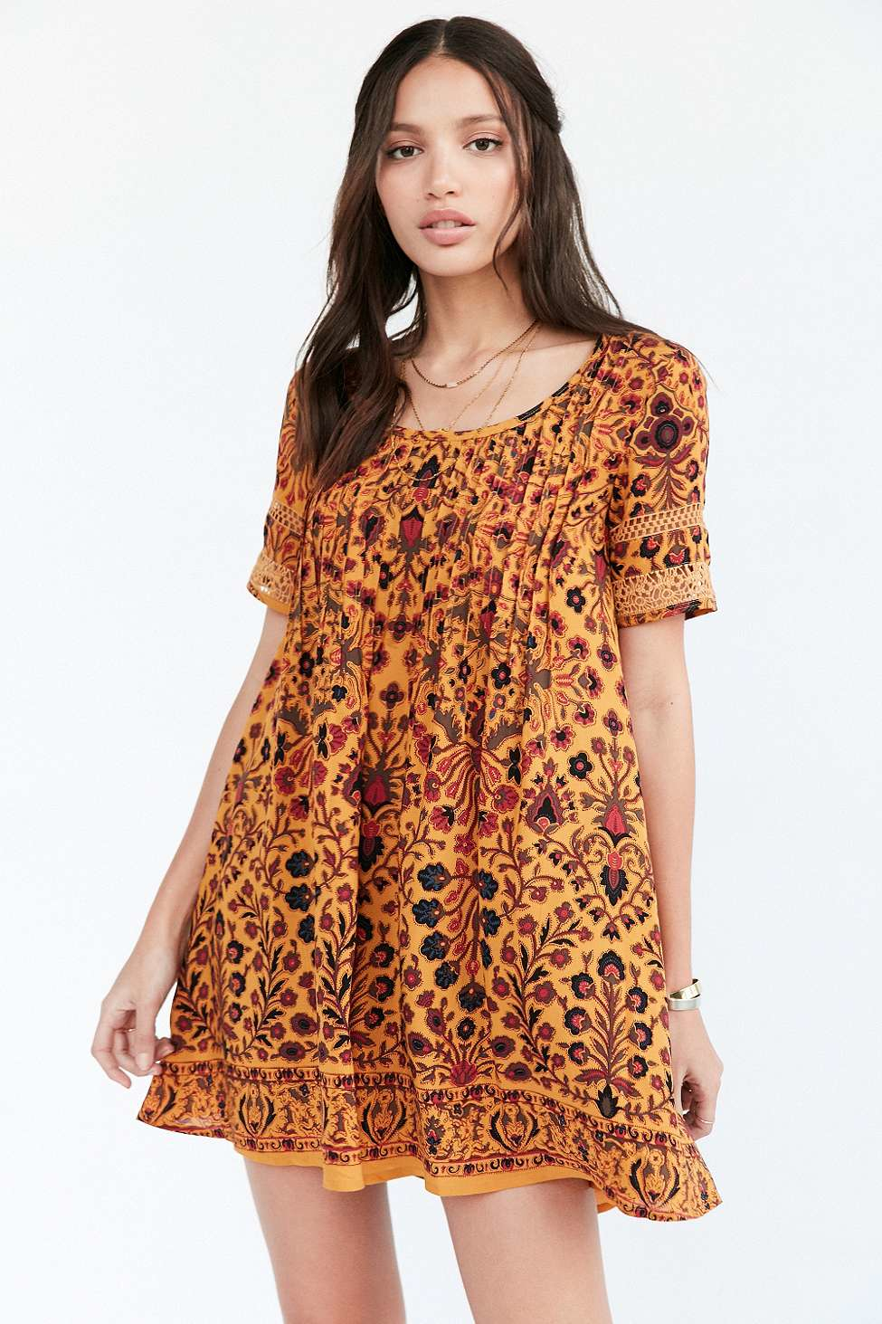 Lyst - Ecote Amethyst Yellow Floral Dress In Orange