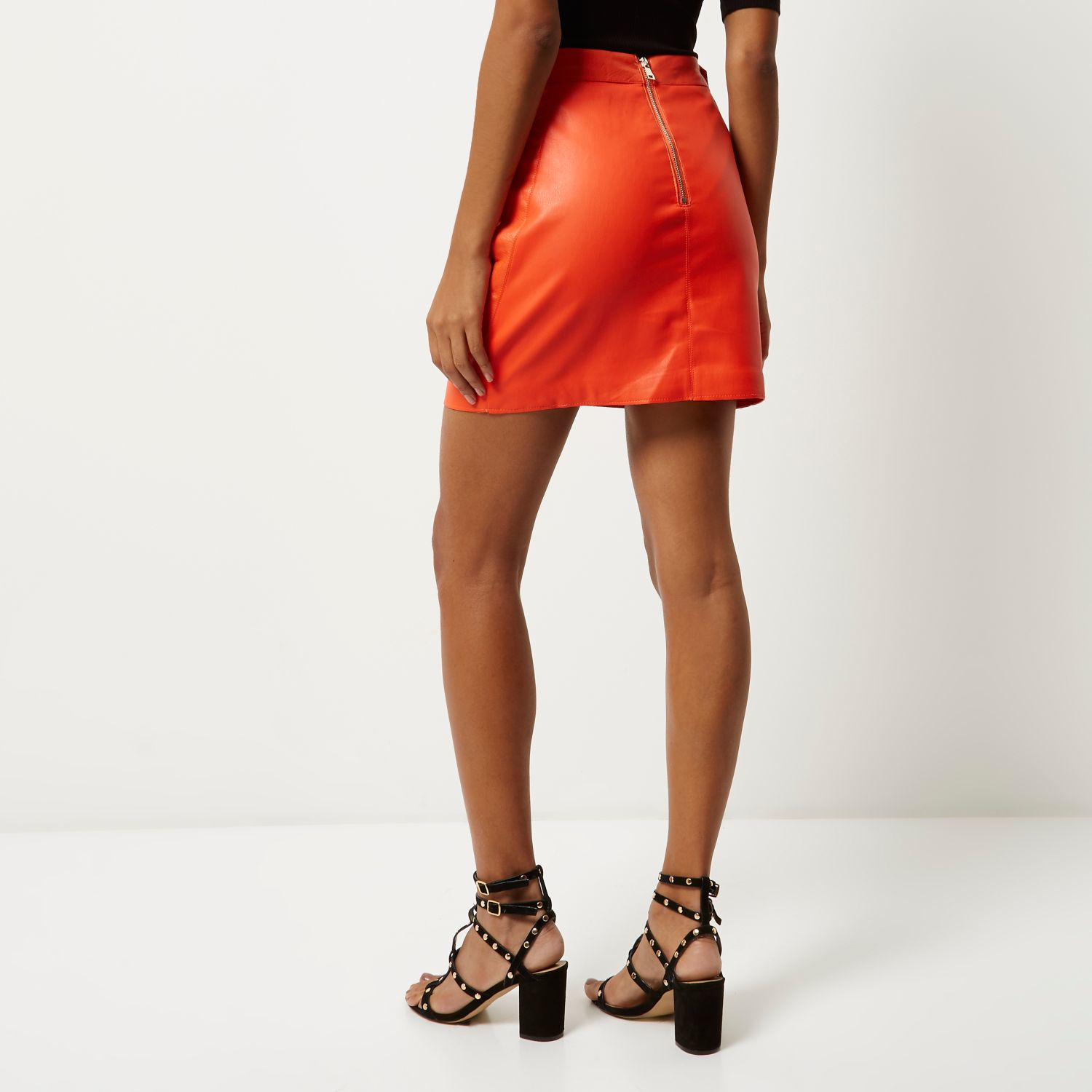 River island Orange Leather Look Mini Skirt in Orange | Lyst