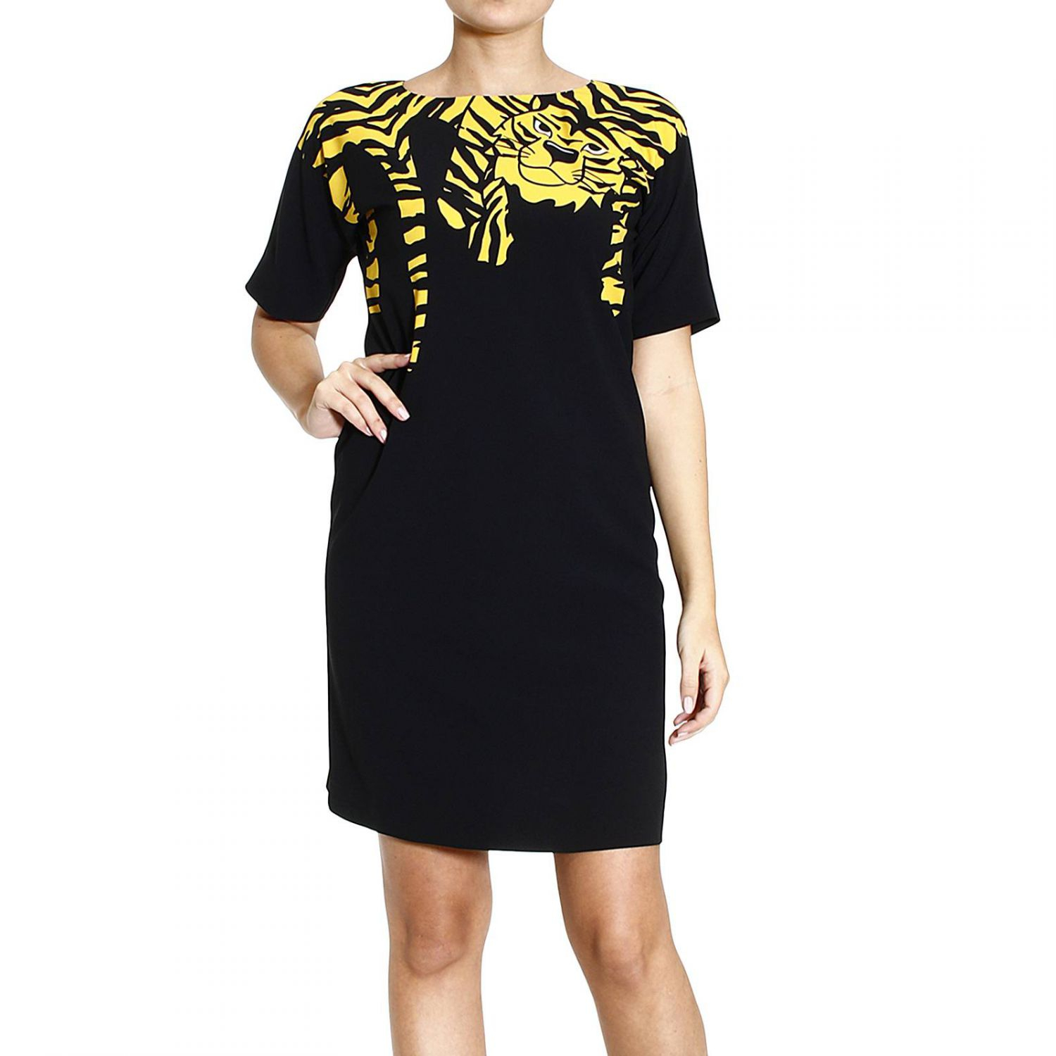 Lyst moschino dress half sleeve with tiger in green Inexpensive chic
