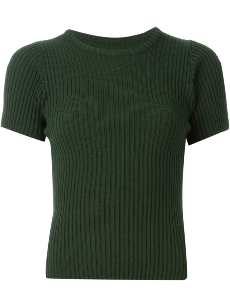 Jacquemus Ribbed Short Sleeved Sweater in Green | Lyst