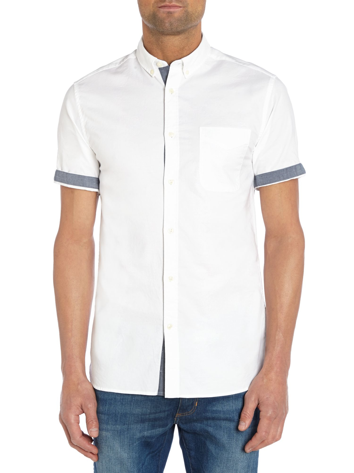 Jack & jones Slim Fit Button Down Short Sleeve Shirt in White for ...
