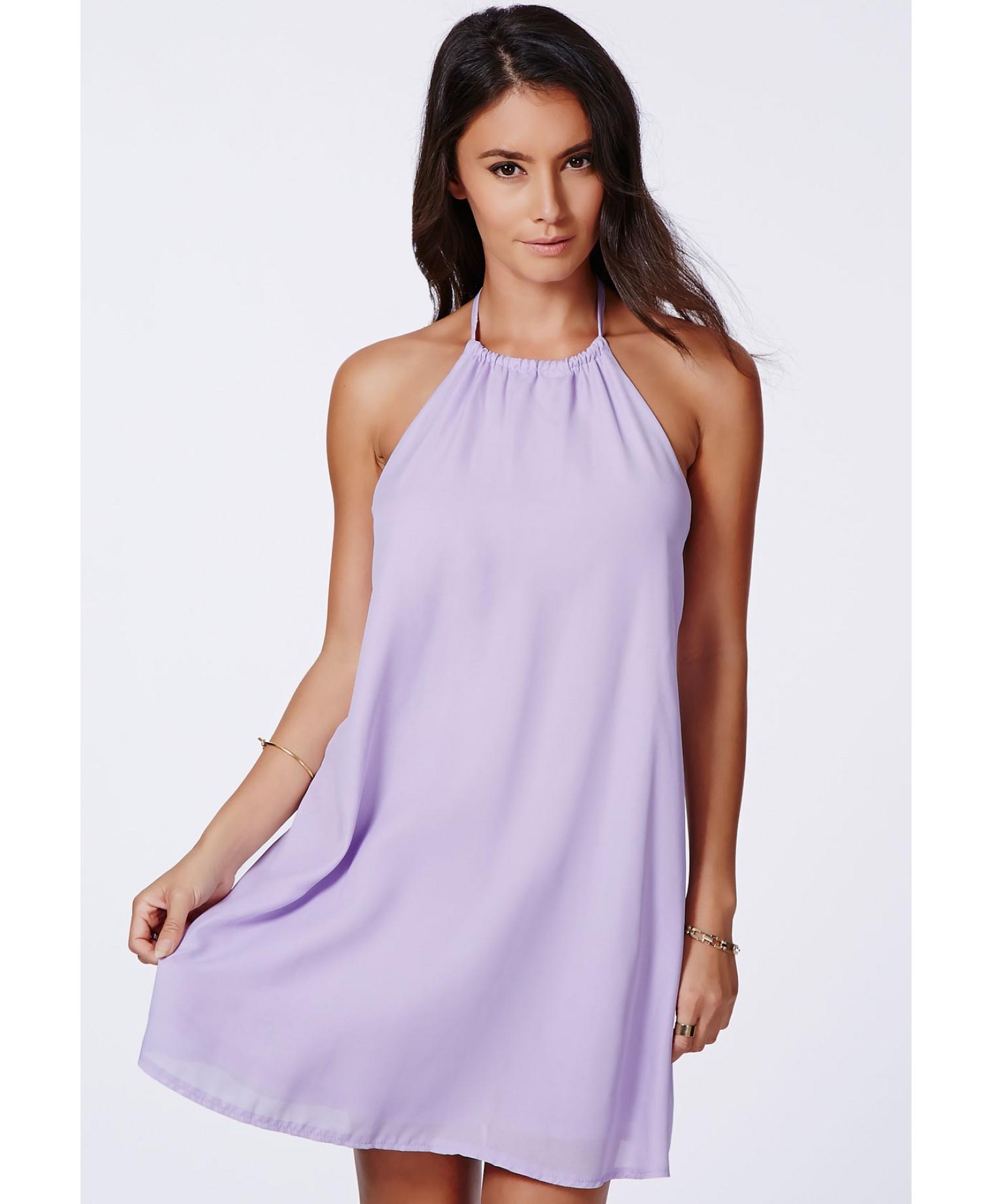 45e2e9a038fa Lyst - Missguided Laslie Lilac Strappy Swing Chiffon Dress in Purple