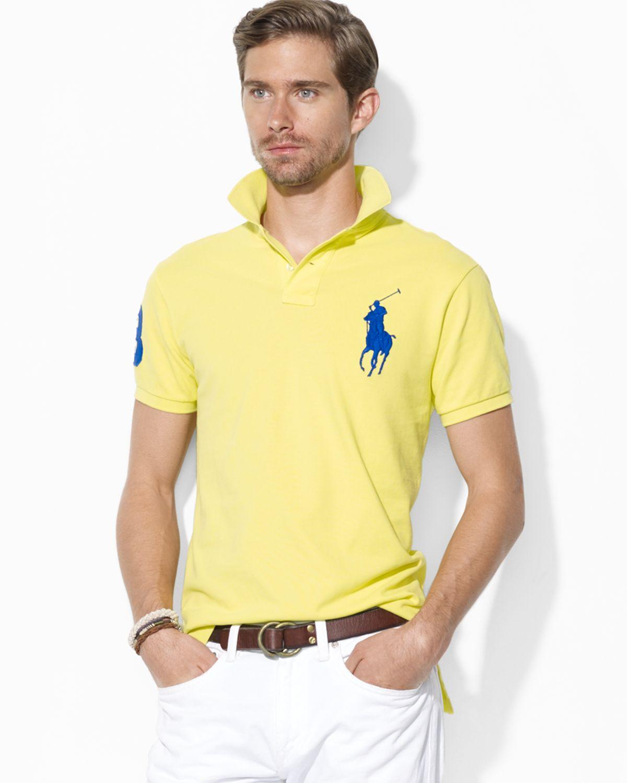 Polo Men Ralph Lauren Mesh Classic Fit Yellow Short Sleeved