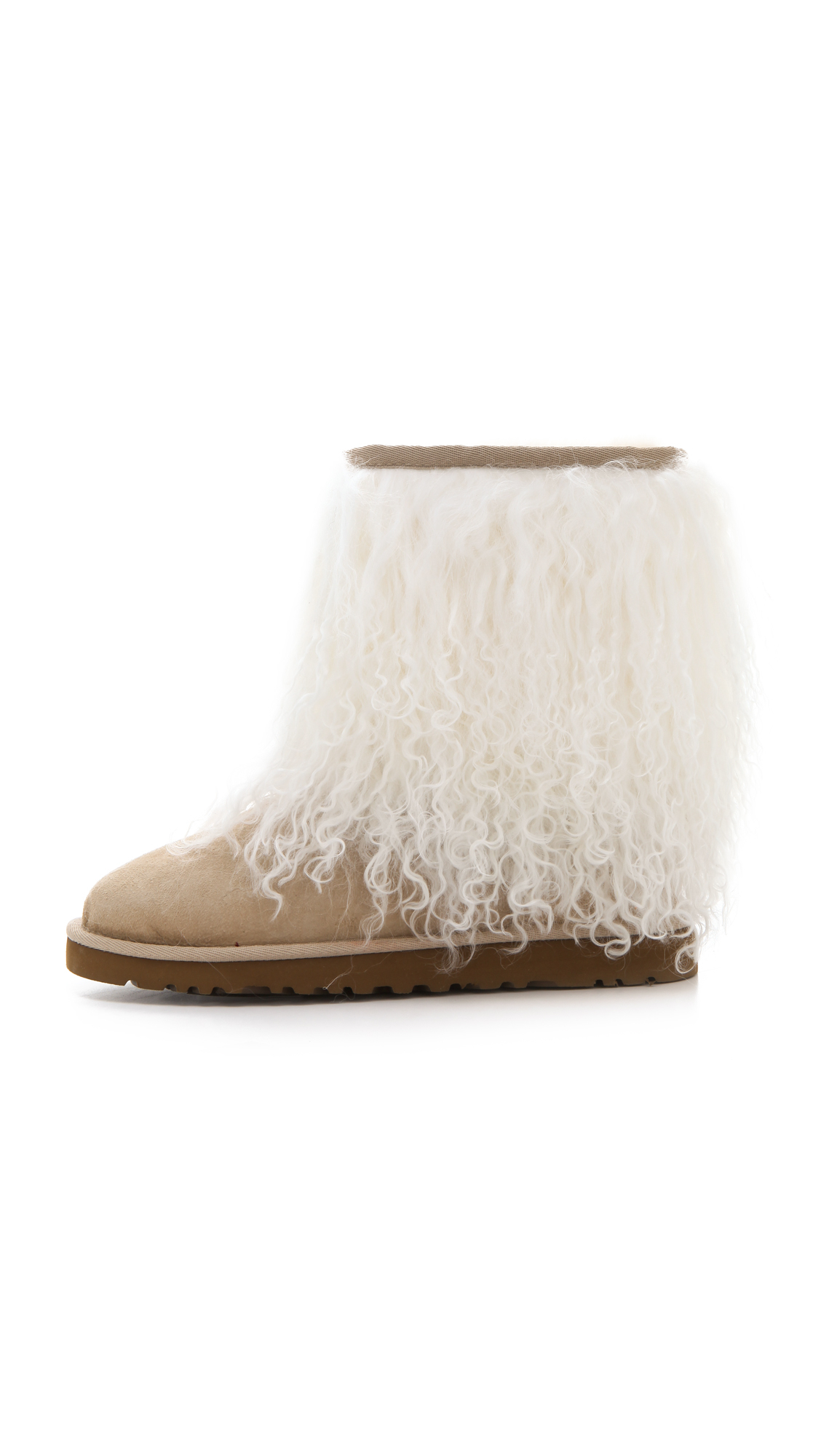 lyst ugg short sheepskin cuff boots in natural rh lyst com