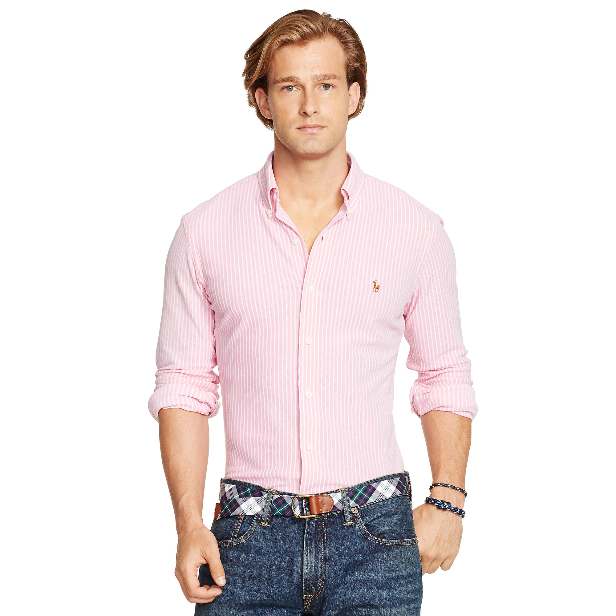 Polo ralph lauren striped knit oxford shirt in pink for for Pink oxford shirt men