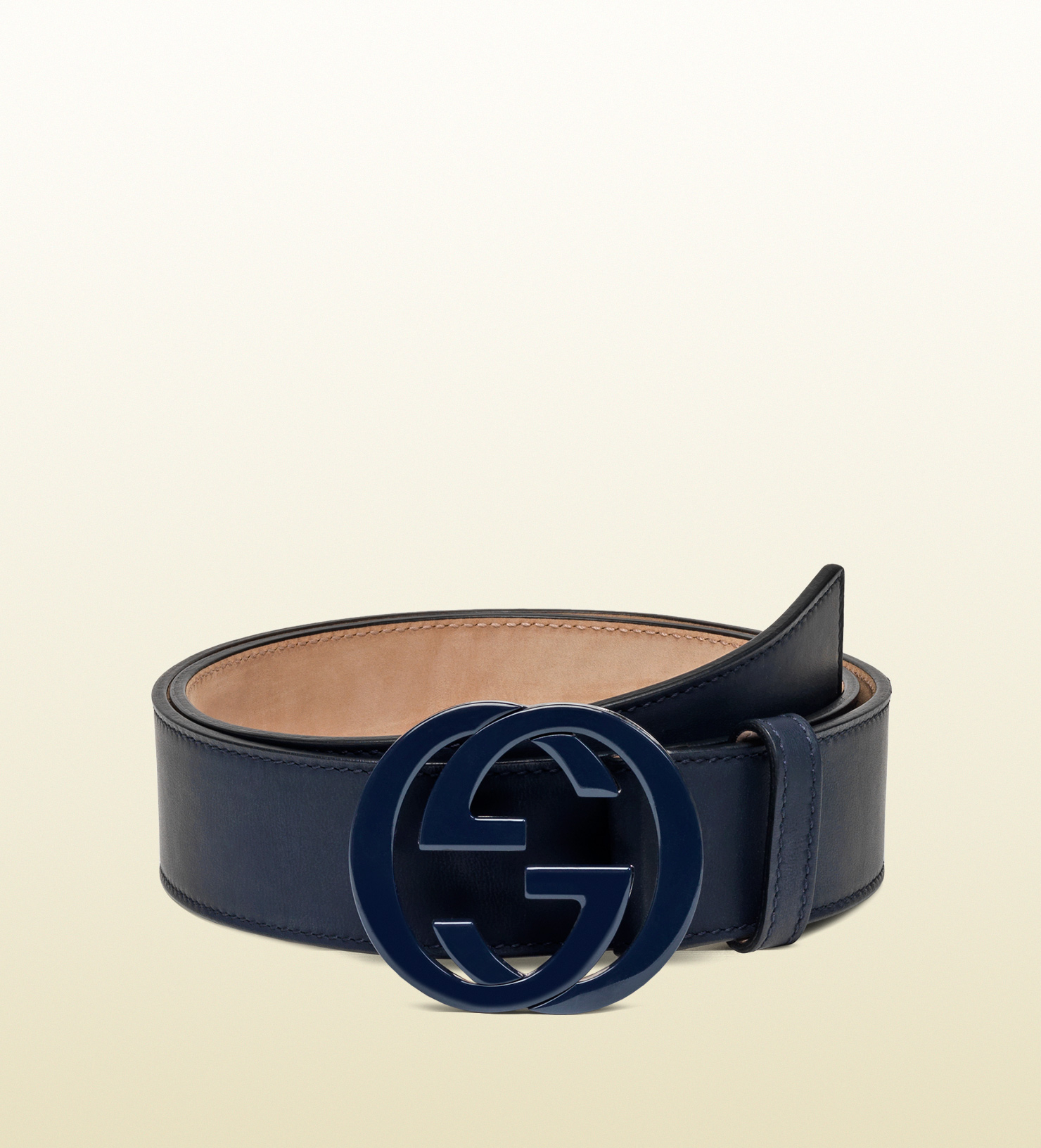 0fb05f33ca48a Lyst - Gucci Leather Belt With Interlocking G Buckle in Blue for Men