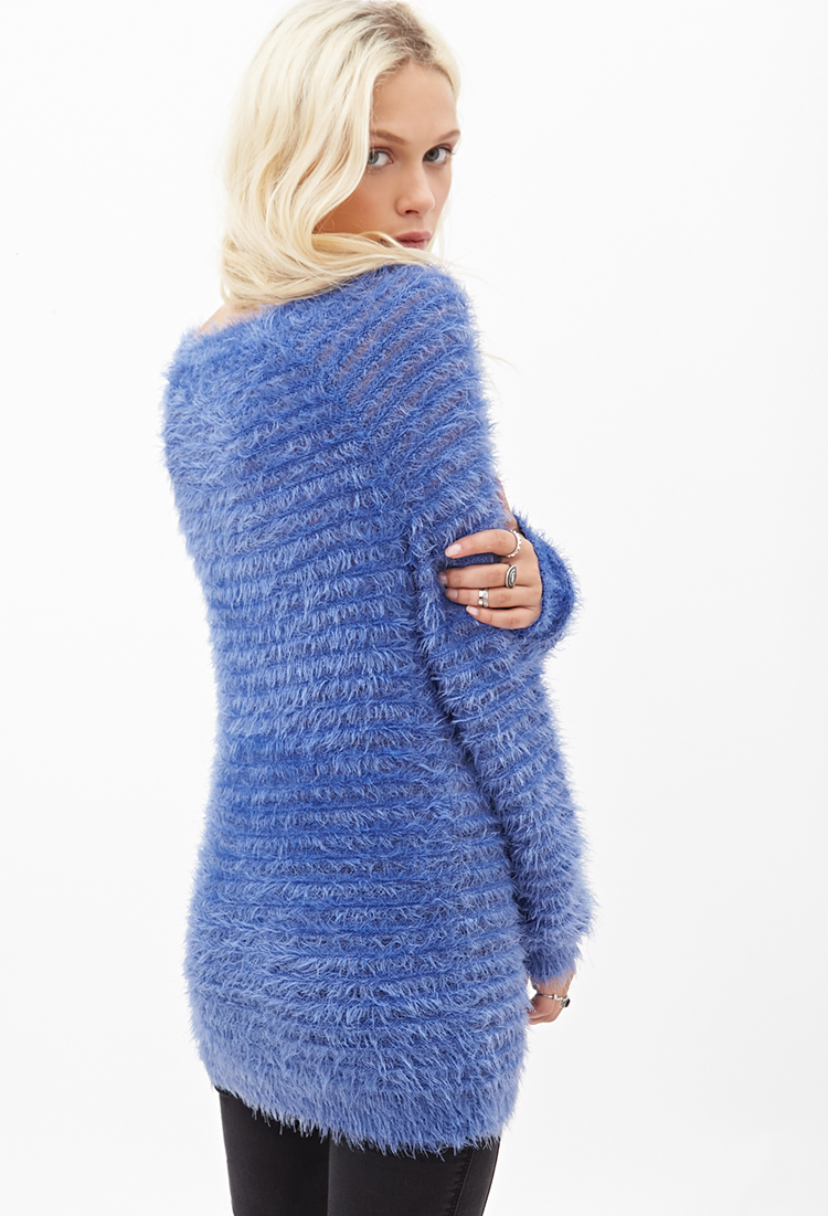Forever 21 Fuzzy Knit Ribbed Sweater in Blue Lyst