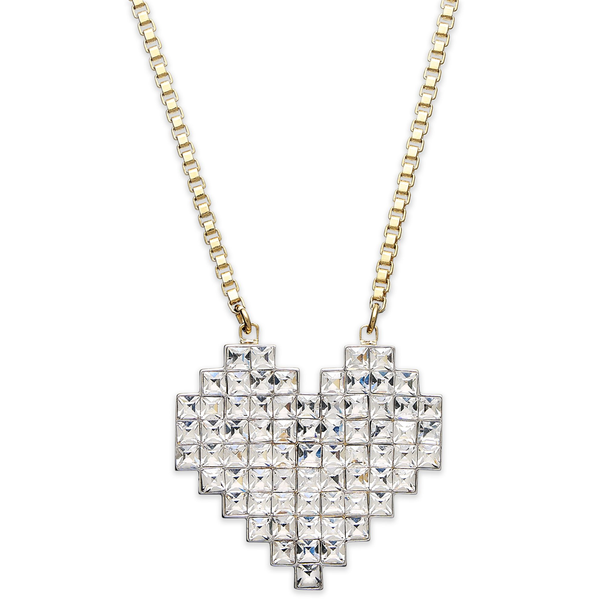 Juicy couture goldtone pixel heart pendant necklace in for Juicy couture jewelry necklace