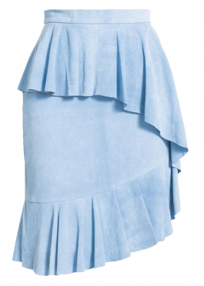 matthew williamson blue suede ruffle skirt in blue baby