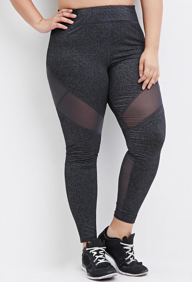 Resultado de imagen de plus size leggings with mesh panels