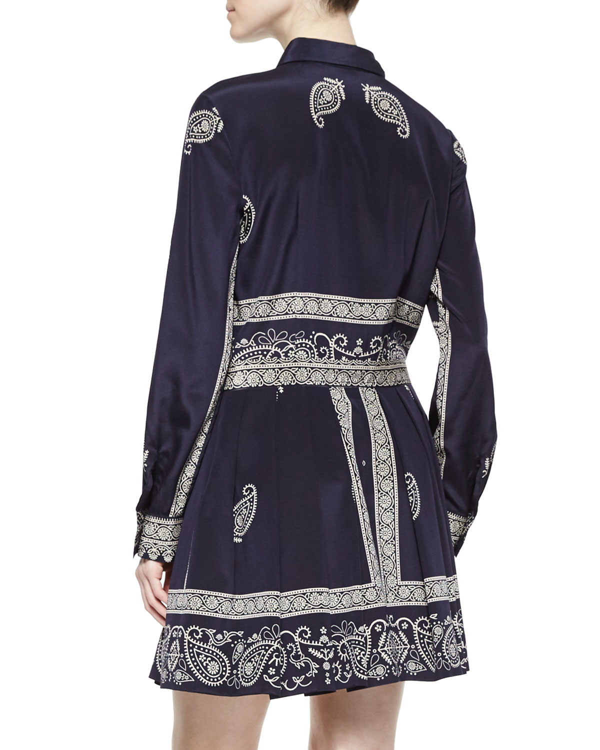 e69153693935 DKNY Long-Sleeved Bandana-Print Shirt Dress in Blue - Lyst