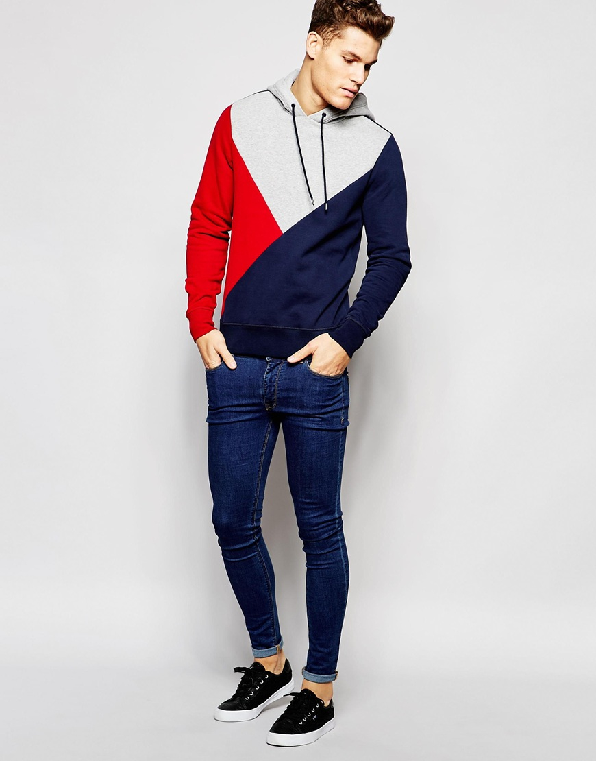 tommy hilfiger hoodie with block colour in blue for men lyst. Black Bedroom Furniture Sets. Home Design Ideas