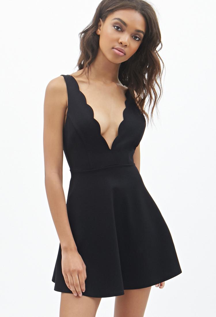 Lyst - Forever 21 Scalloped V-Neck Dress in Black - photo #38
