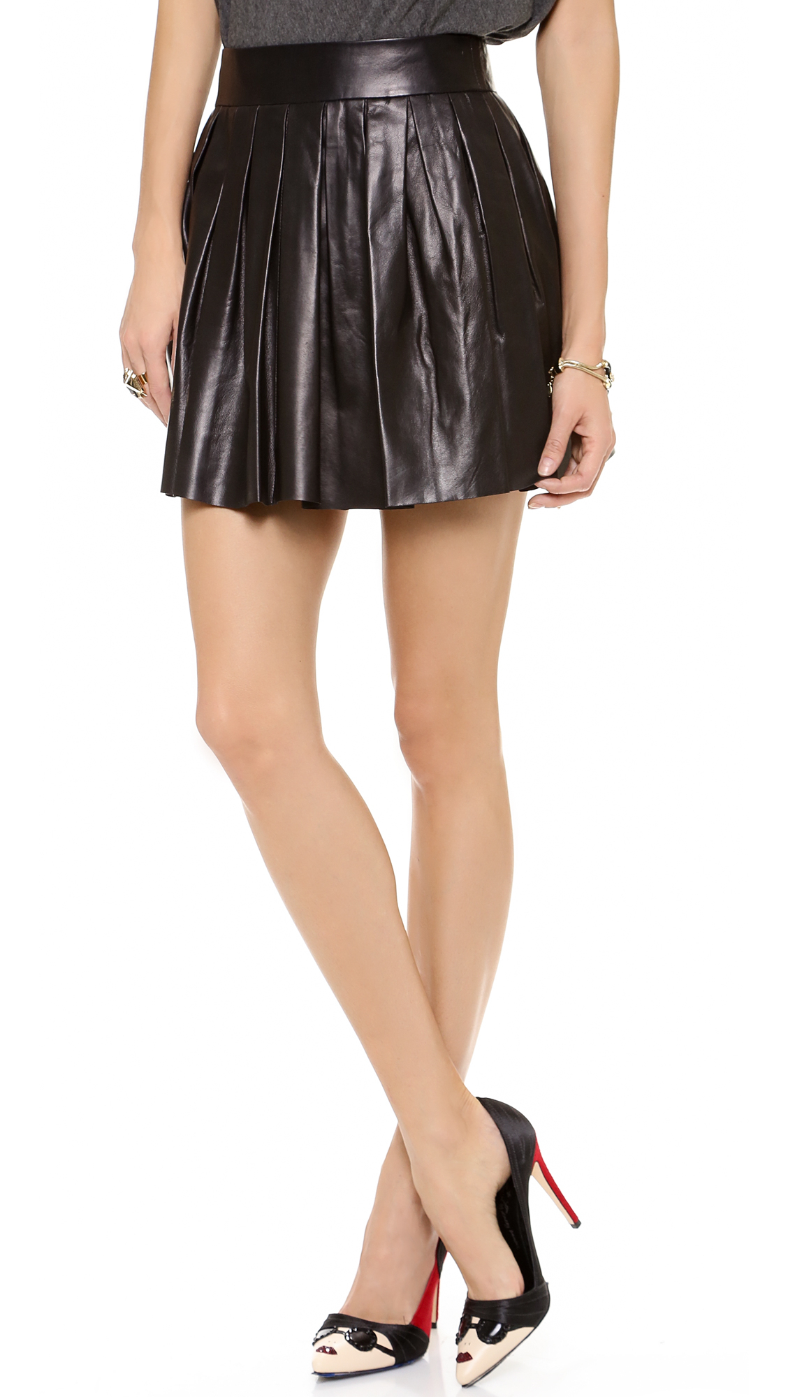 box pleat leather skirt black in black lyst