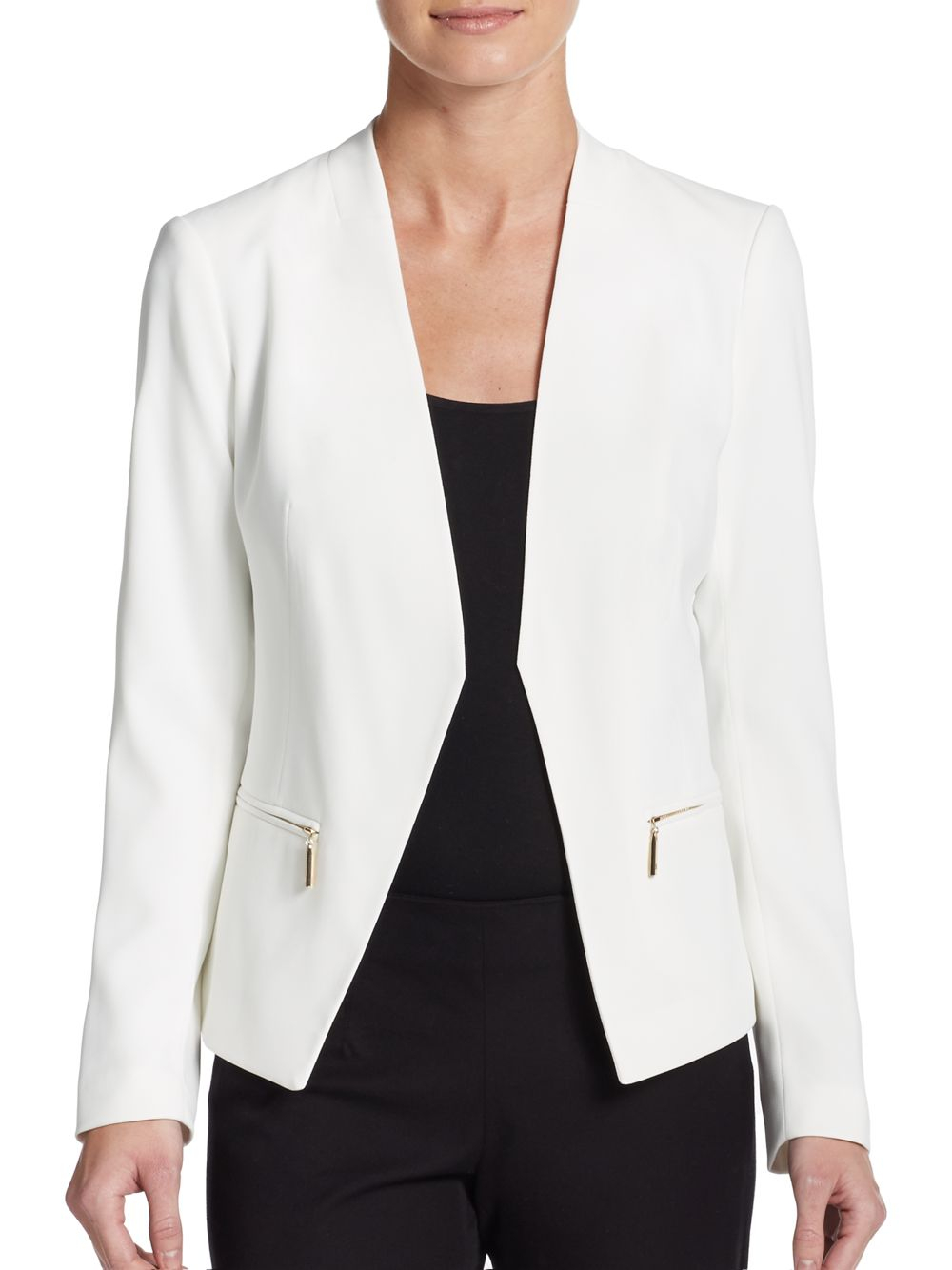 Ivanka trump Collarless Open-front Jacket in White | Lyst
