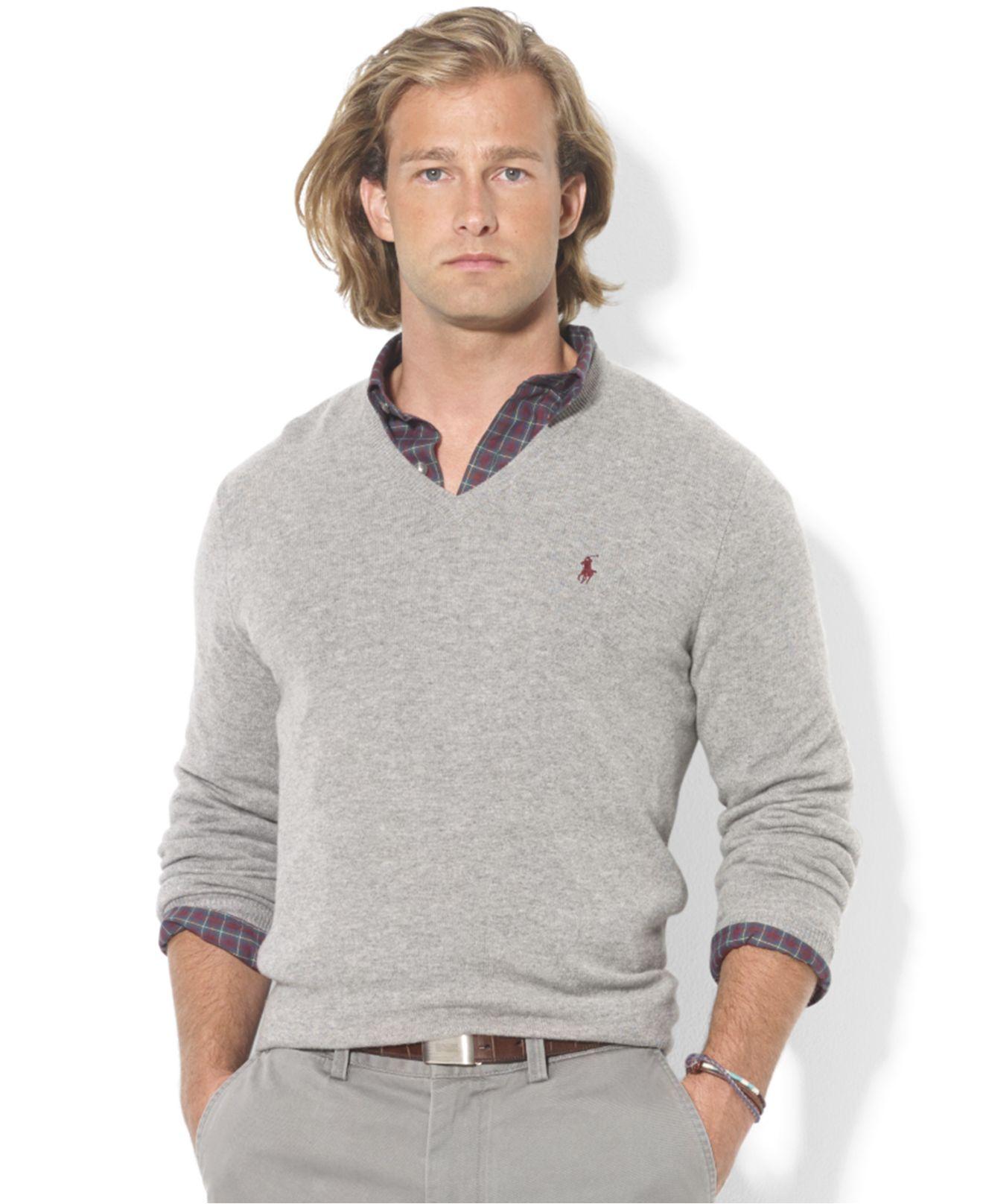 be07bf6fa Polo Ralph Lauren V-Neck Merino Wool Sweater in Gray for Men - Lyst