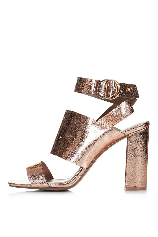 f0e4bf063f2 TOPSHOP Monica Block Heel Sandals in Metallic - Lyst
