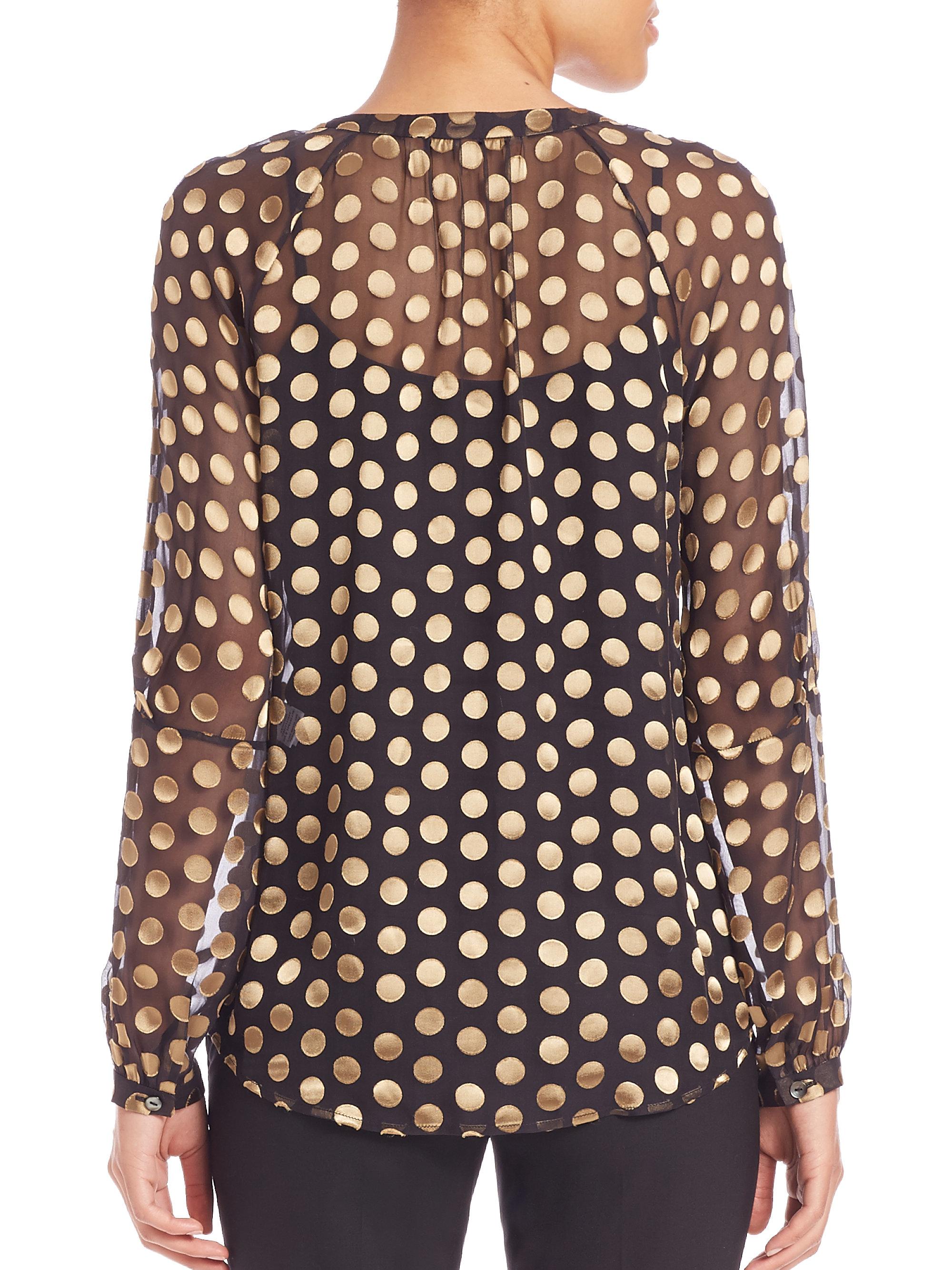 Blue polka dots silk top Diane Von Fürstenberg Cheap Sale Top Quality Shopping Online Buy Cheap Best Seller ae6oV